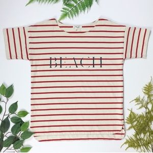Madewell | Red / White Striped graphic beach tee S